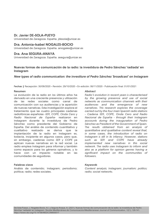 Nuevas formas de comunicación de la radio: la investidura de Pedro Sánchez ''radiada'' en Instagram [New types of radio communication: the investiture of Pedro Sanchez ''broadcast'' on Instagram]