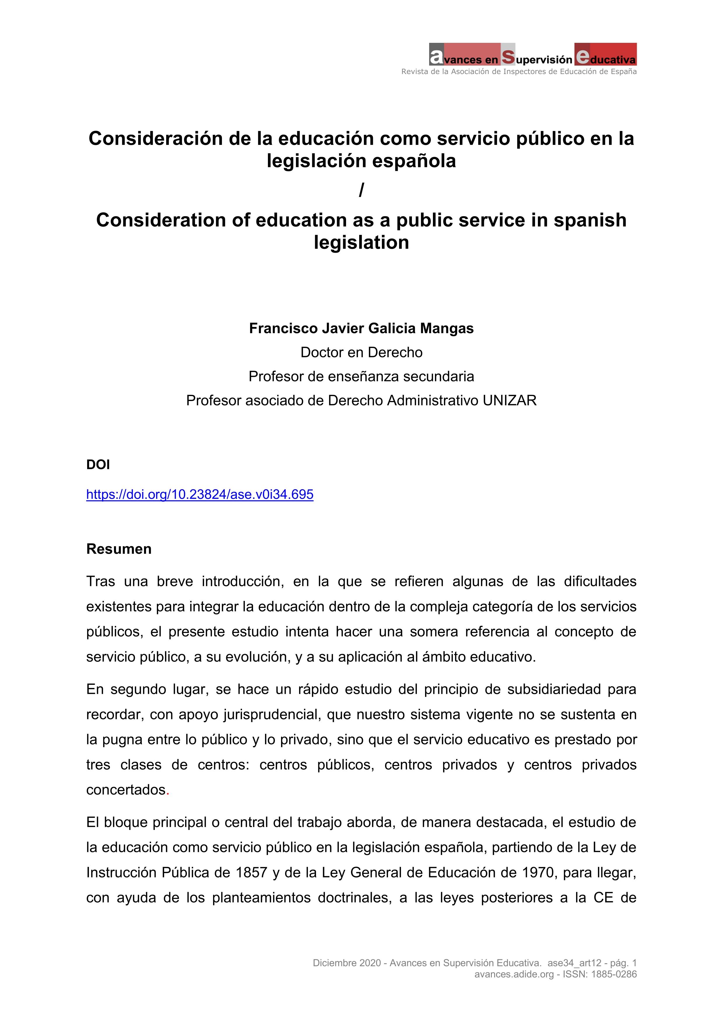 Consideración de la educación como servicio público en la legislación española