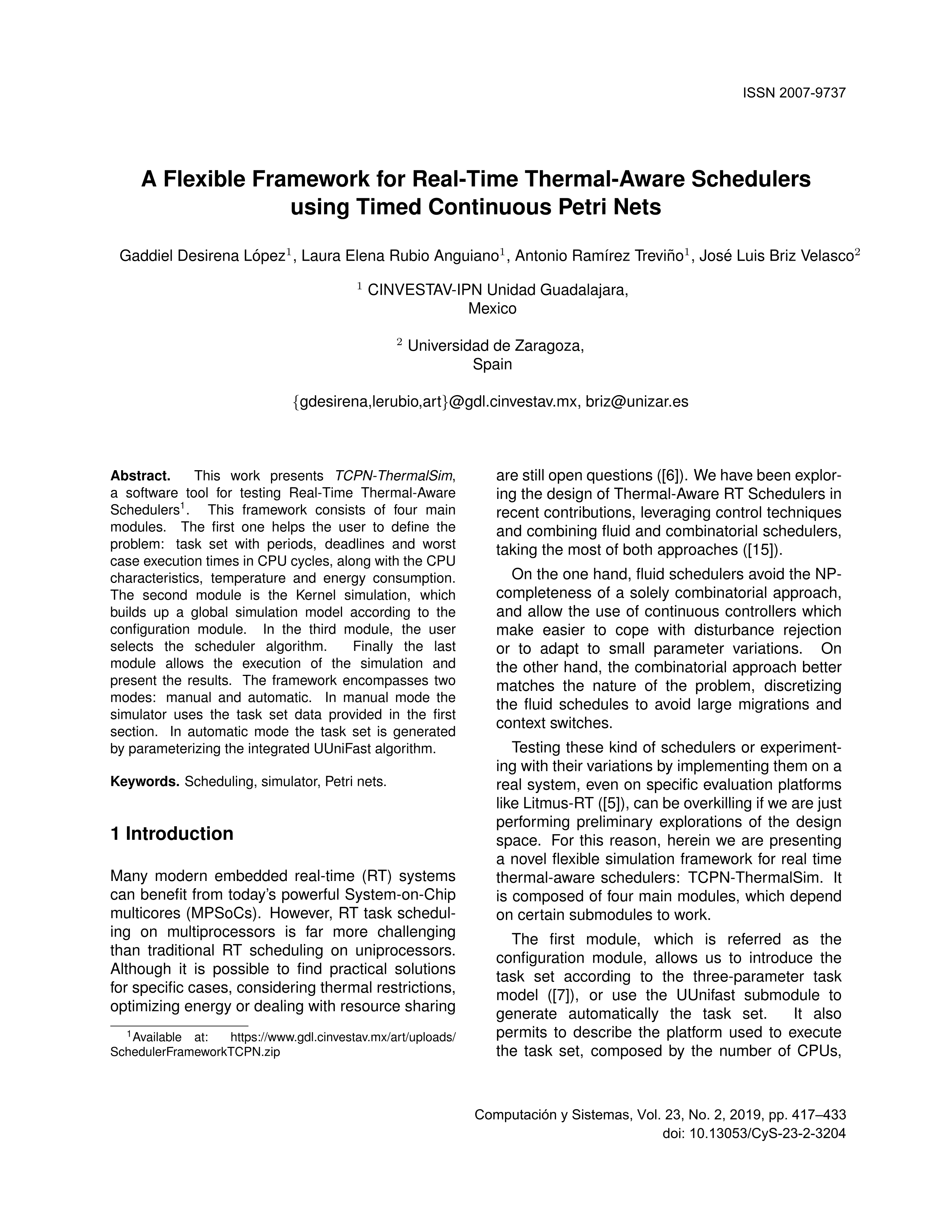 A flexible framework for real-time thermal-aware schedulers using timed continuous petri nets
