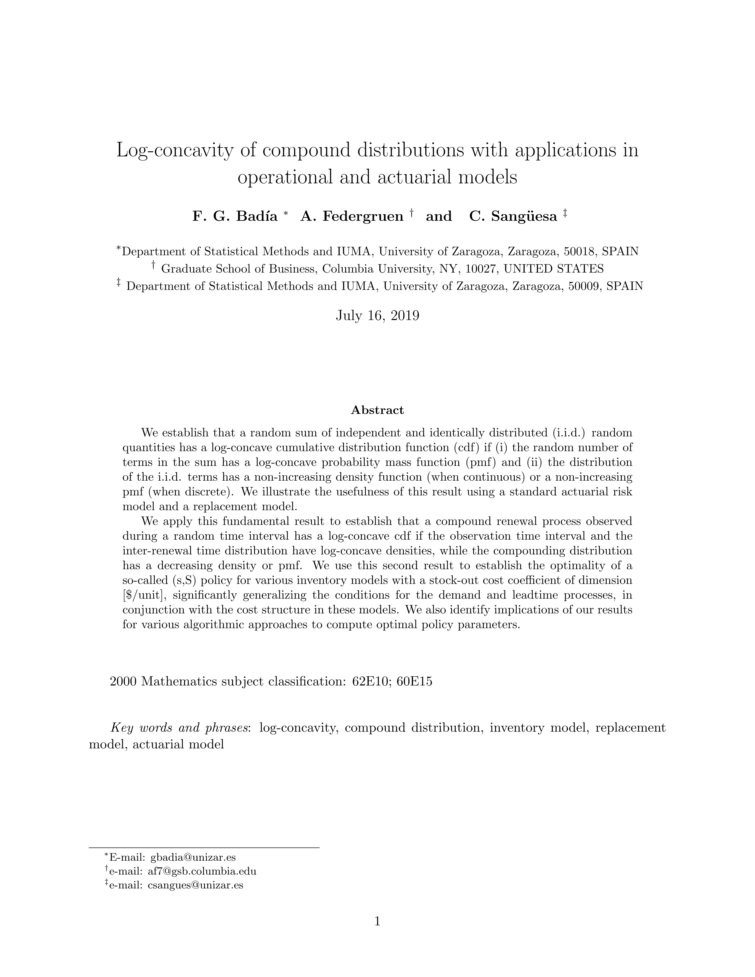Log-concavity of compound distributions with applications in operational and actuarial models