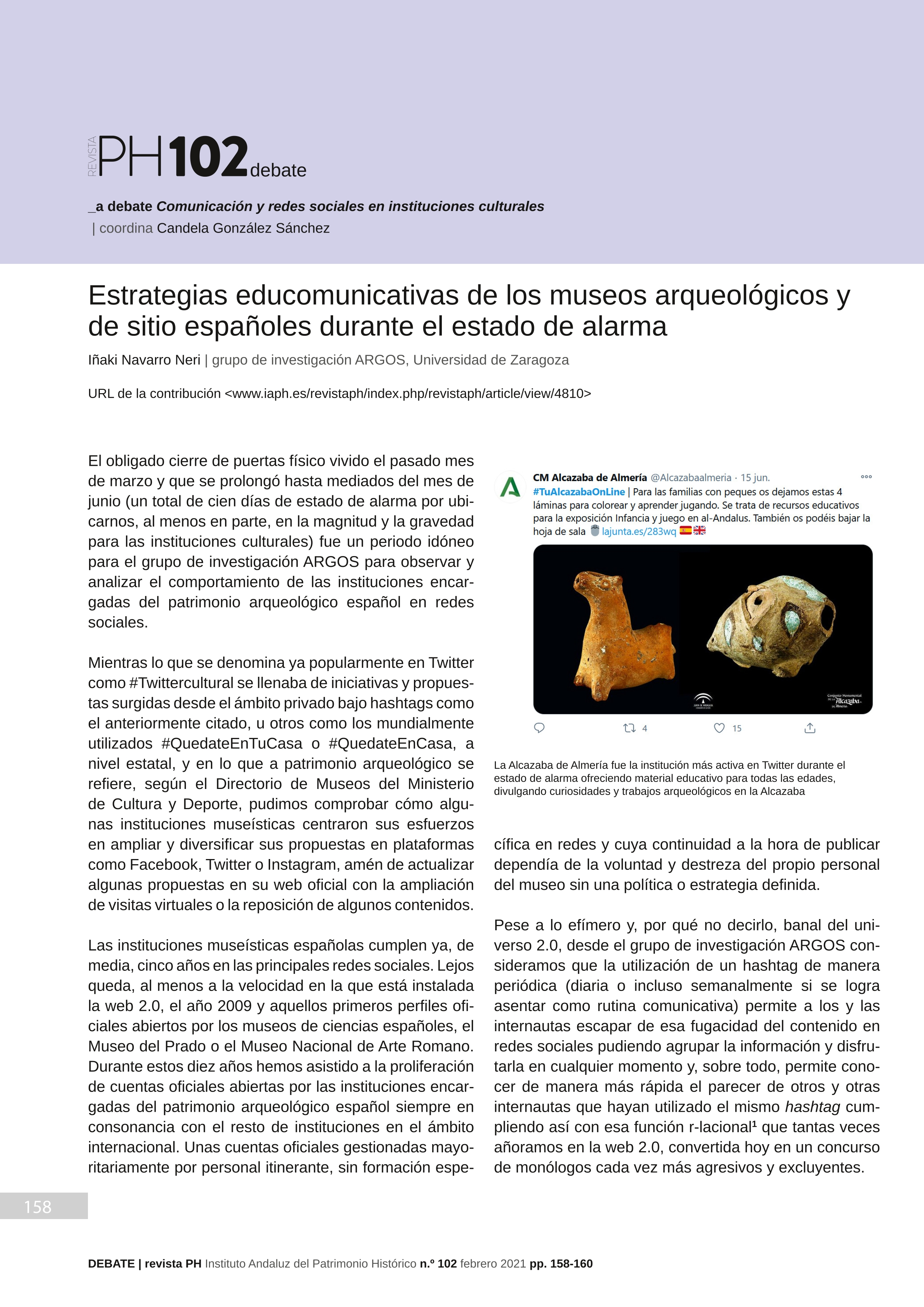 Estrategias educomunicativas de los museos arqueológicos y de sitio españoles durante el estado de alarma