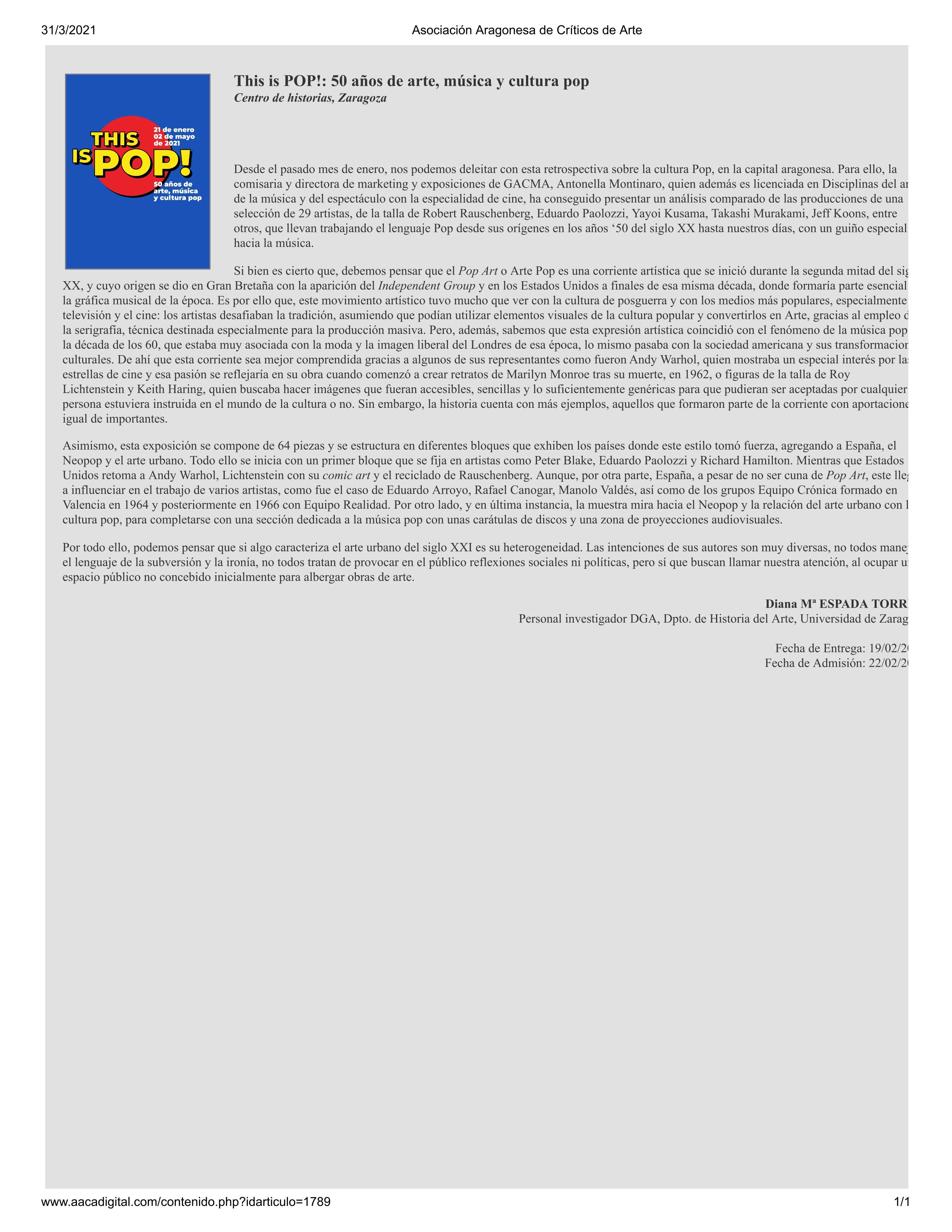 This is POP!: 50 años de arte, música y cultura pop