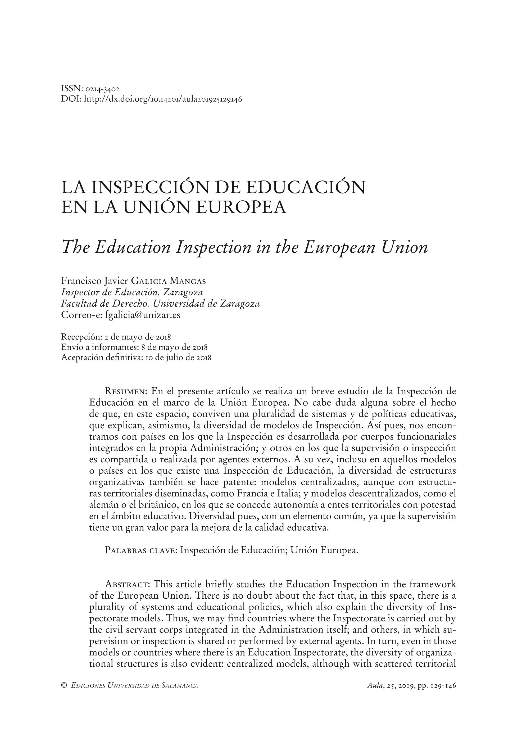 La inspección de educación en la Unión Europea