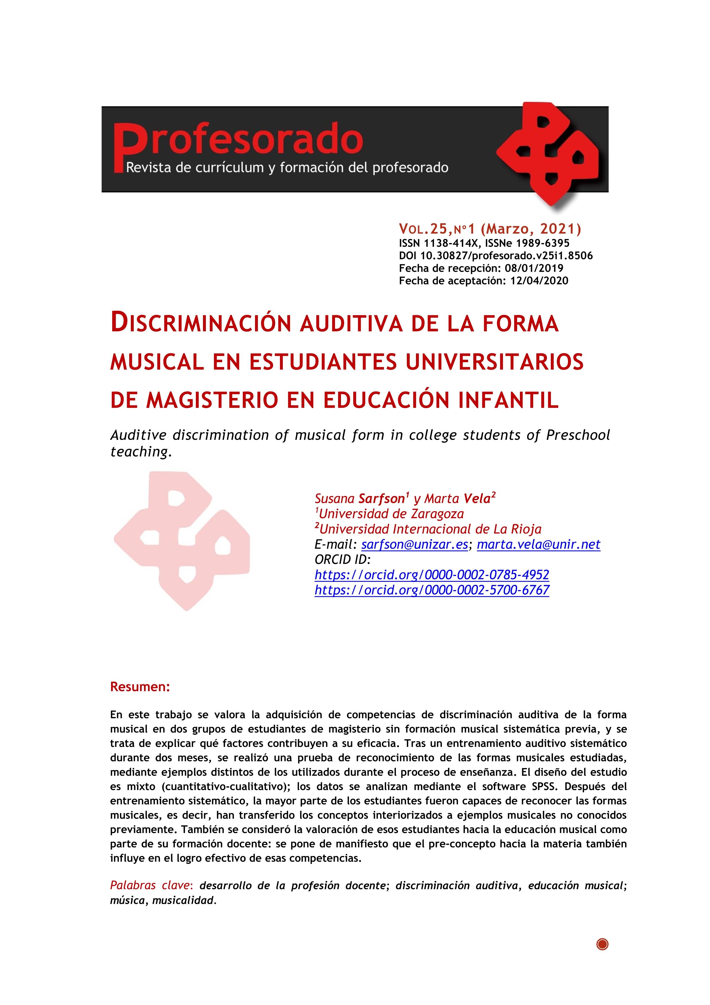 Discriminación auditiva de la forma musical en estudiantes universitarios de magisterio en educación infantil