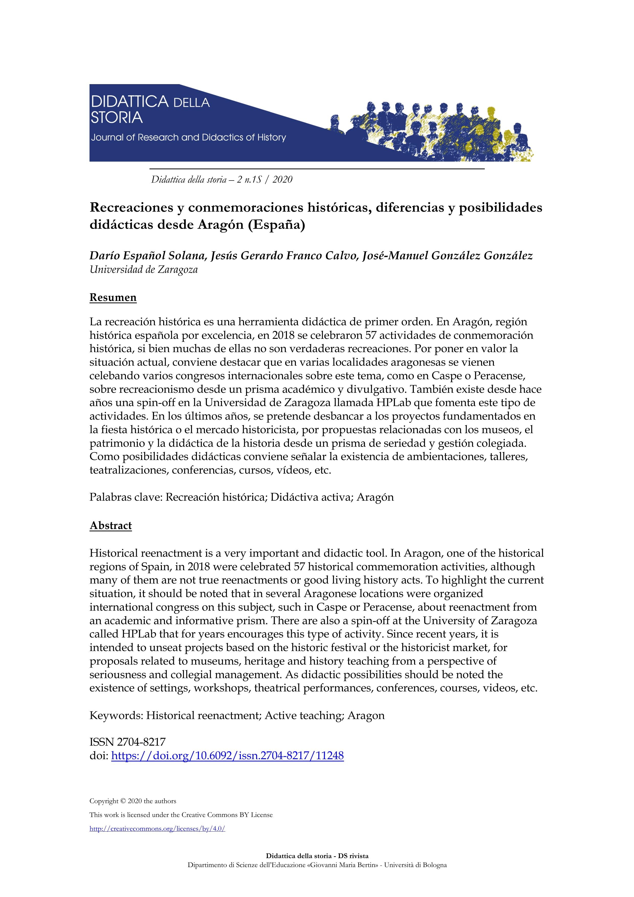 Recreaciones y conmemoraciones históricas, diferencias y posibilidades didácticas desde Aragón (España)