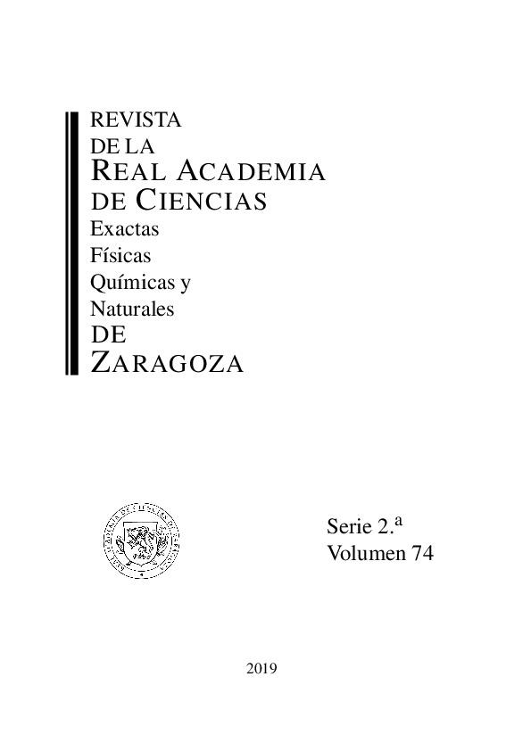 Revista de la Real Academia de Ciencias de Zaragoza, TOMO 74 (2019)