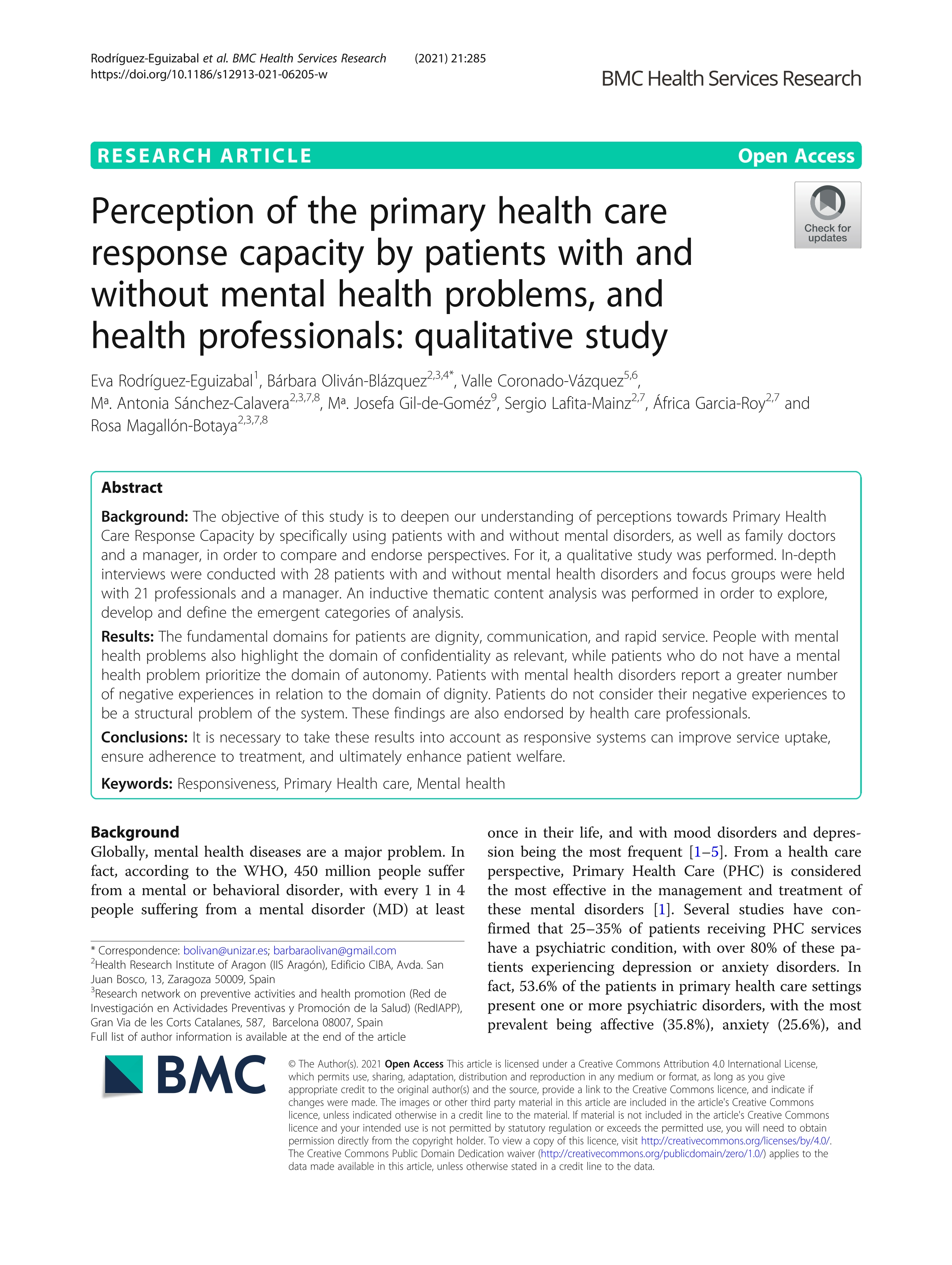 Perception of the primary health care response capacity by patients with and without mental health problems, and health professionals: qualitative study