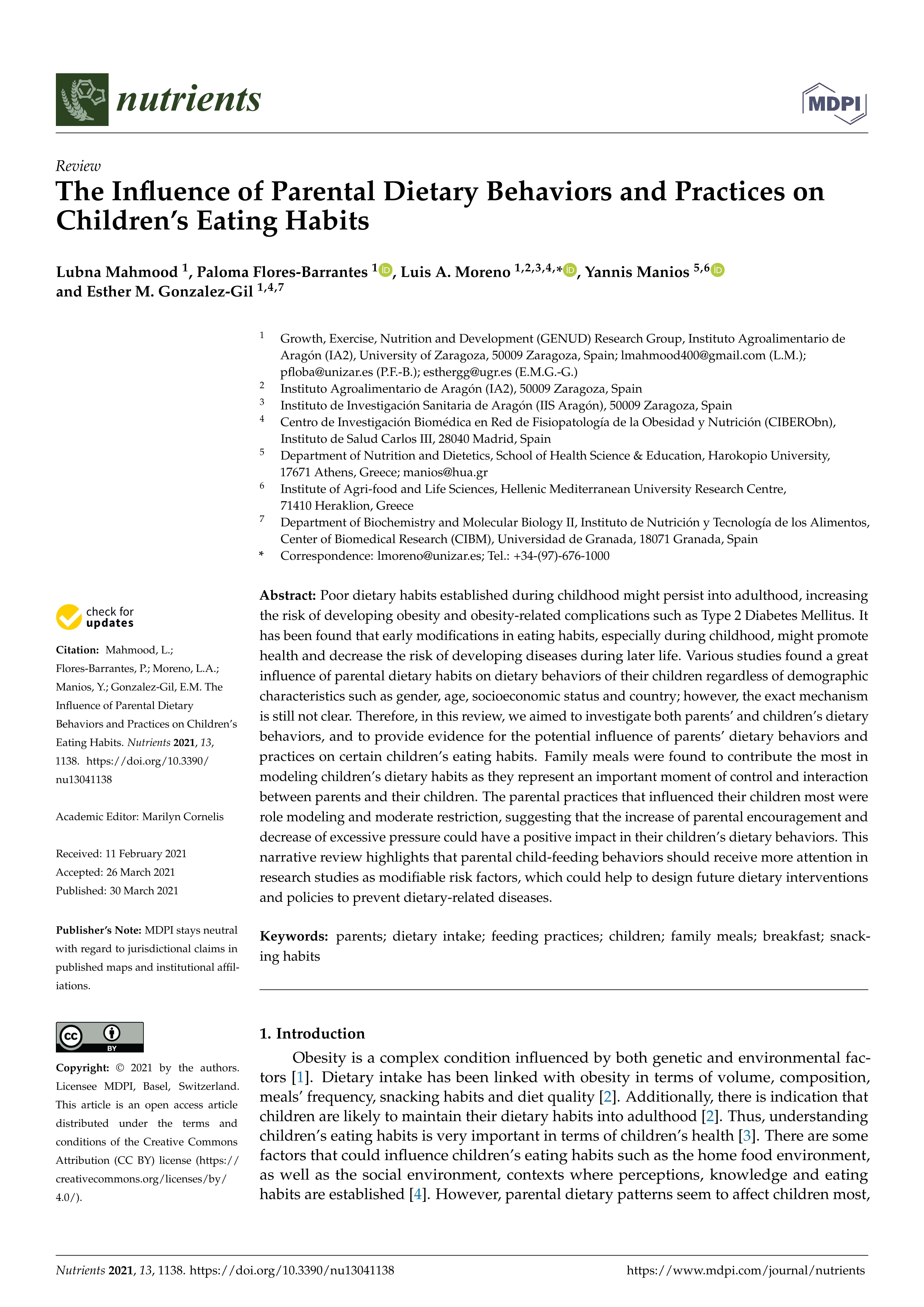 The influence of parental dietary behaviors and practices on children's eating habits