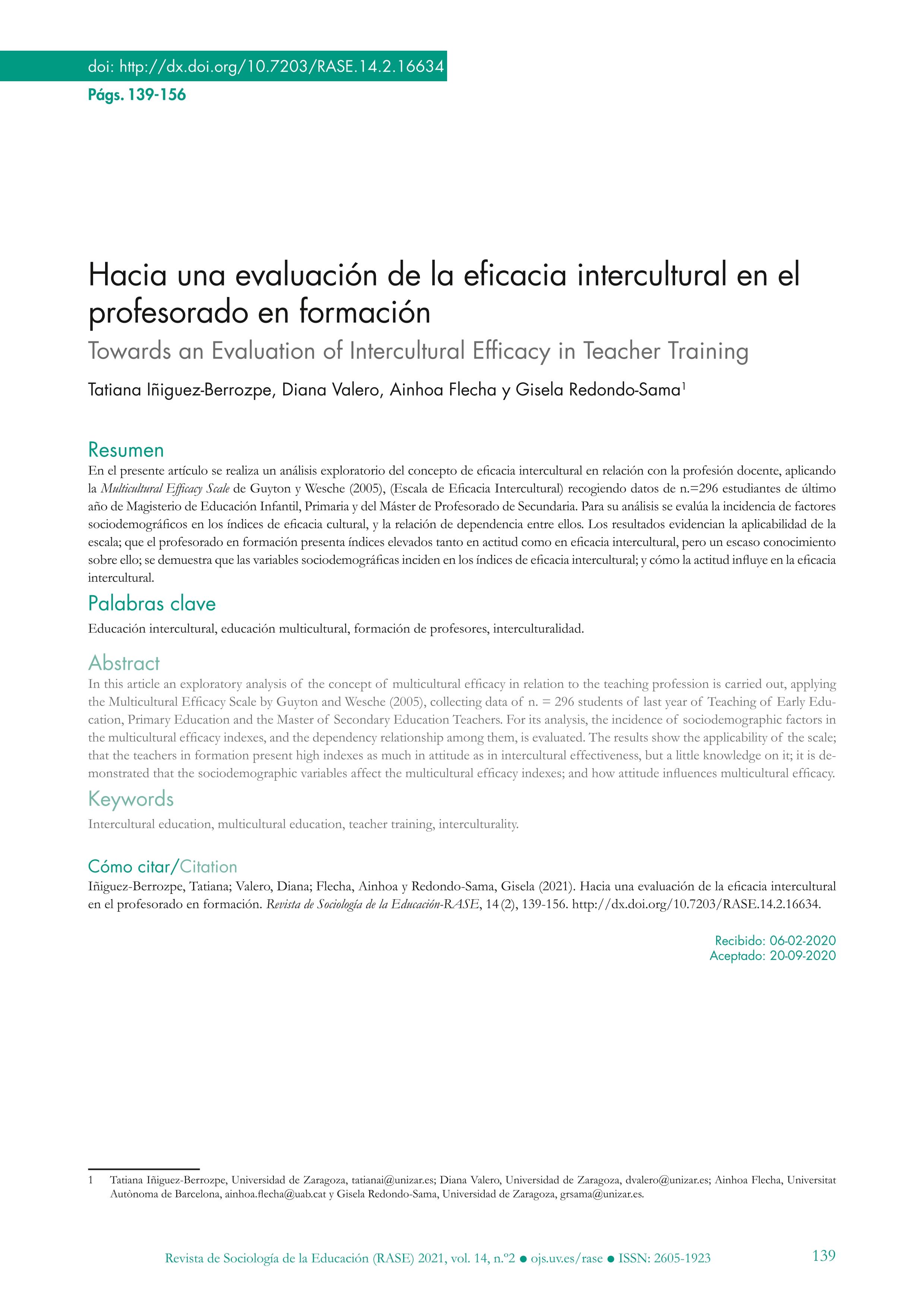 Hacia una evaluación de la eficacia intercultural en el profesorado en formación