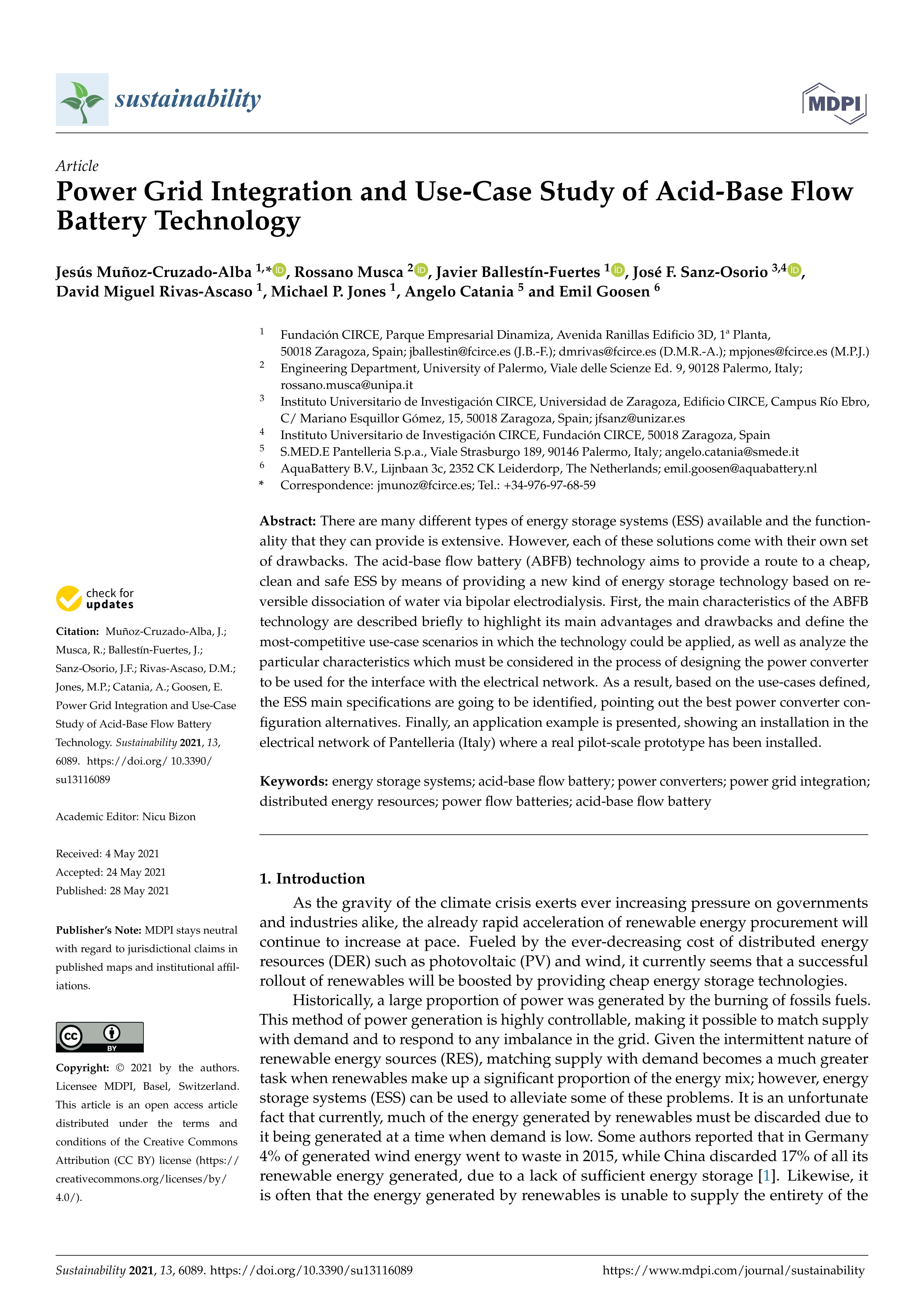 Power grid integration and use-case study of acid-base flow battery technology
