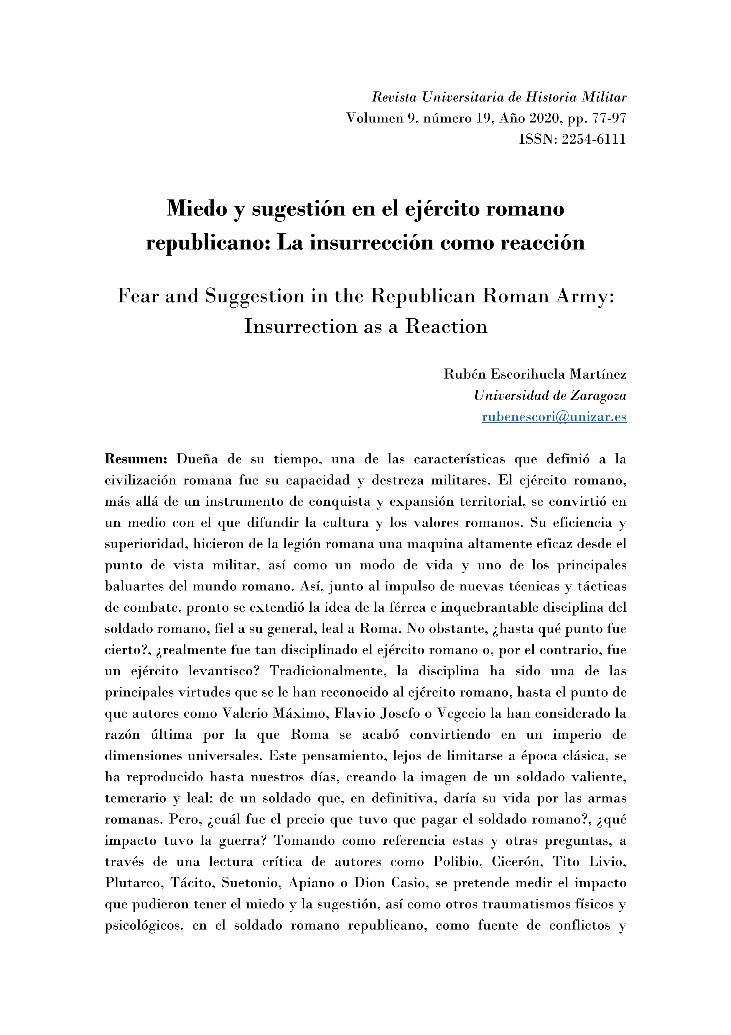 Miedo y sugestión en el ejército romano republicano: la insurrección como reacción