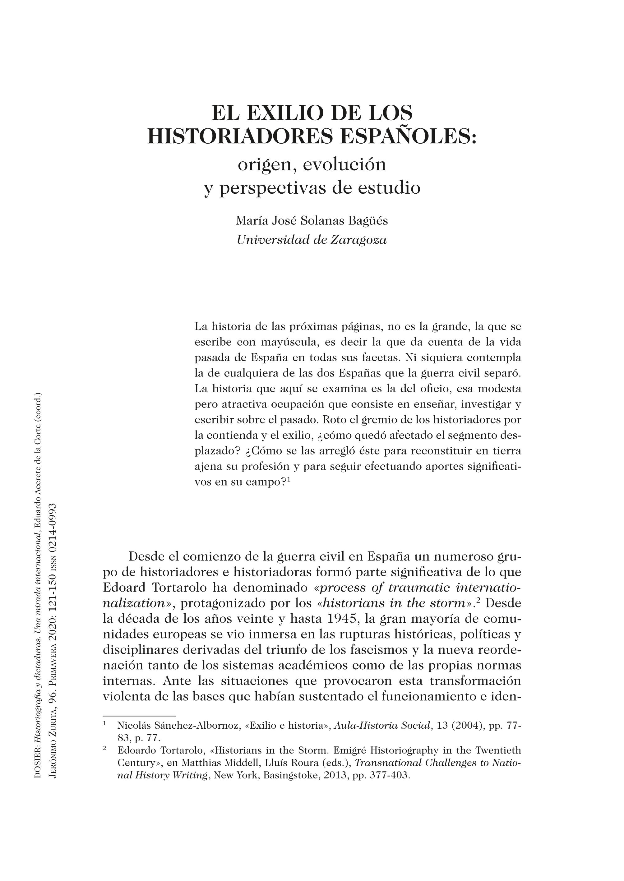 El exilio de los historiadores españoles: origen, evolución y perspectivas de estudio