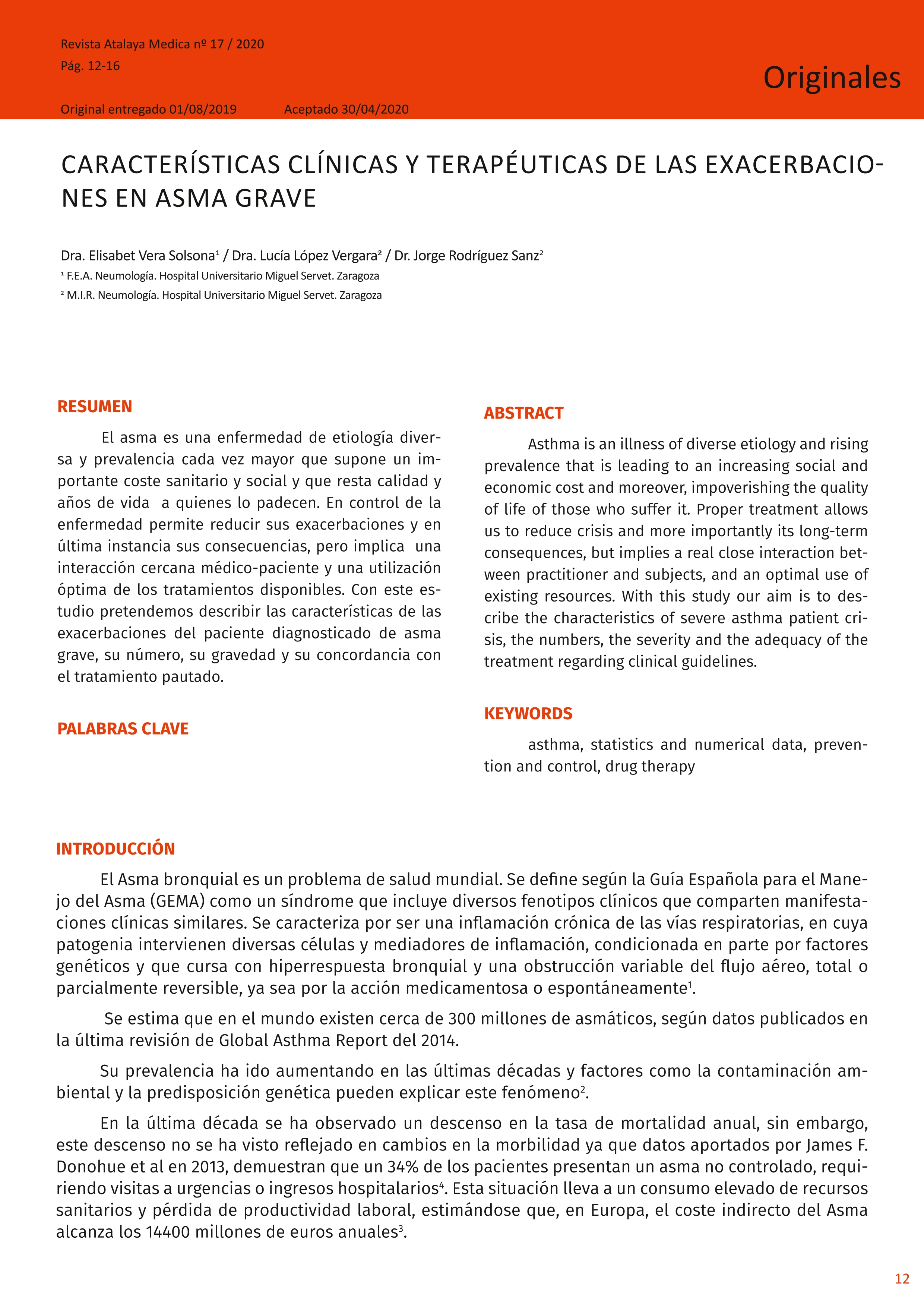 Características clínicas y terapéuticas de las exacerbaciones en asma grave