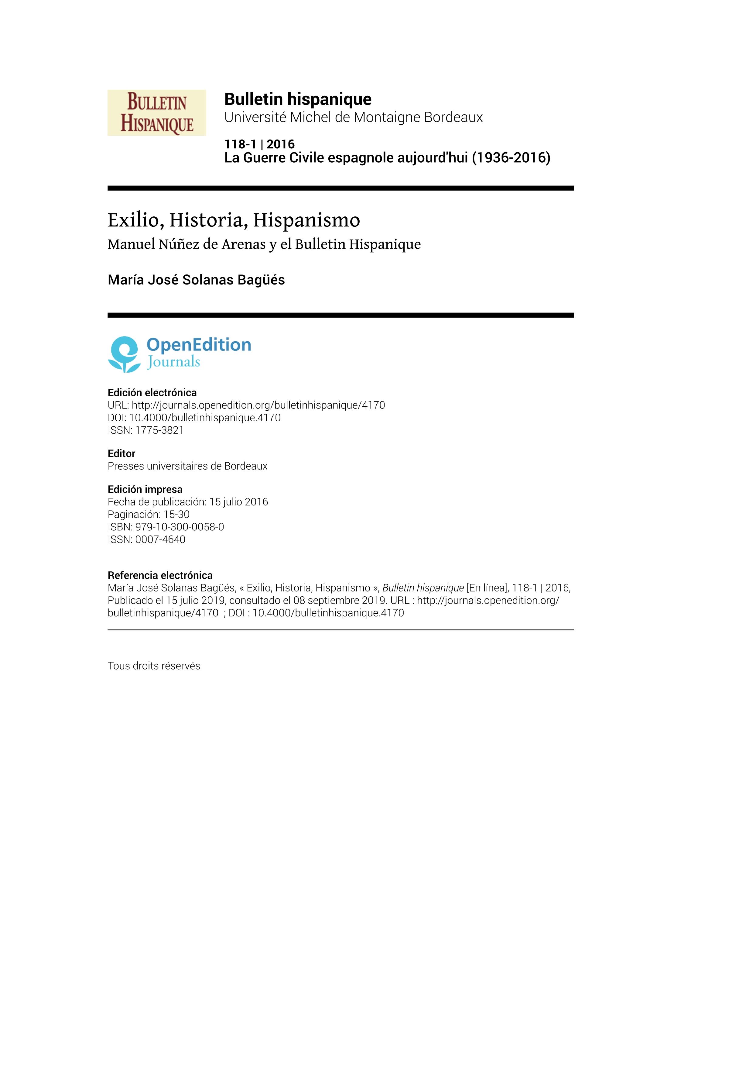Exilio, Historia, Hispanismo: Manuel Núñez de Arenas y el