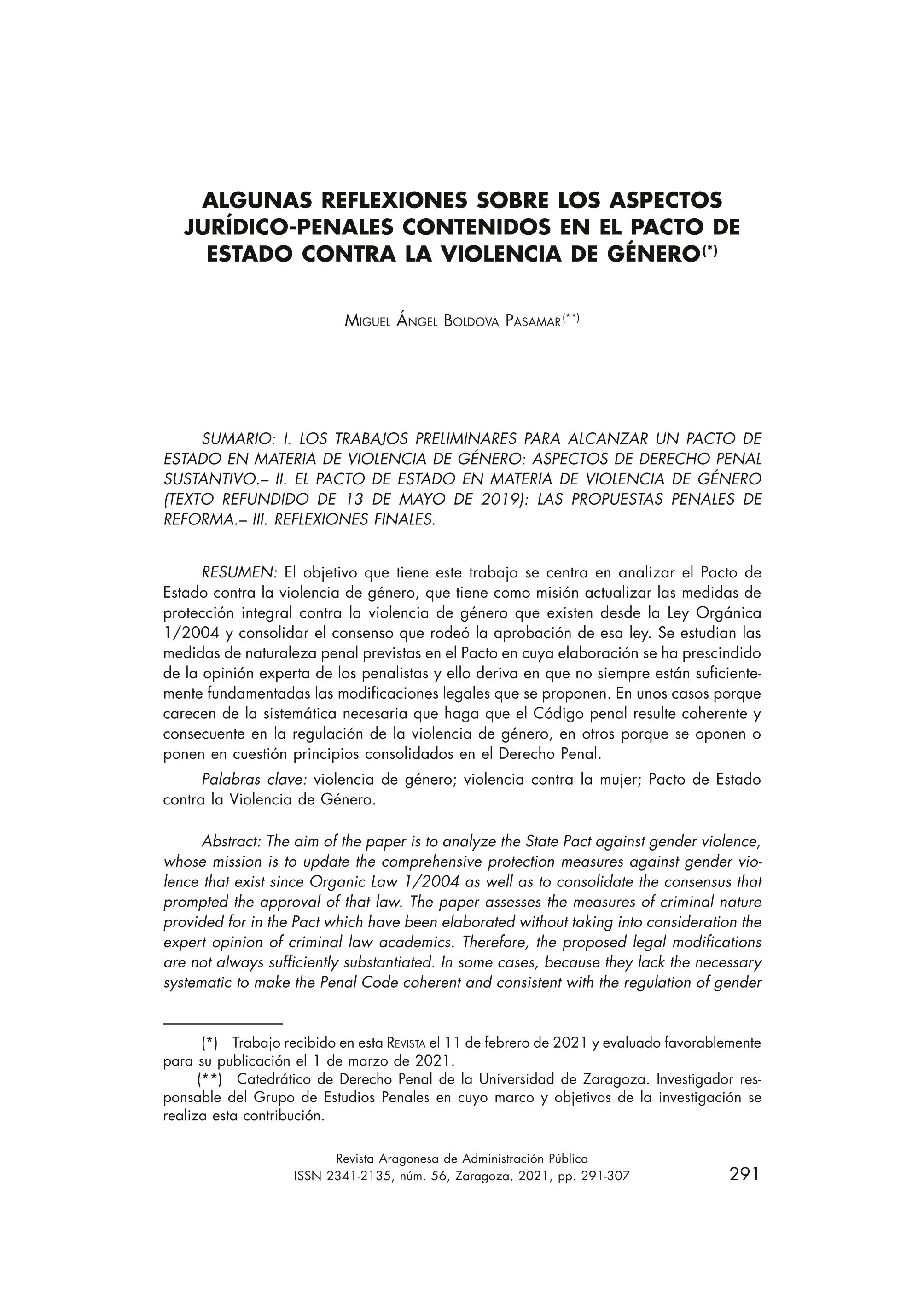 Algunas reflexiones sobre los aspectos jurídico-penales contenidos en el pacto de Estado contra la violencia de género