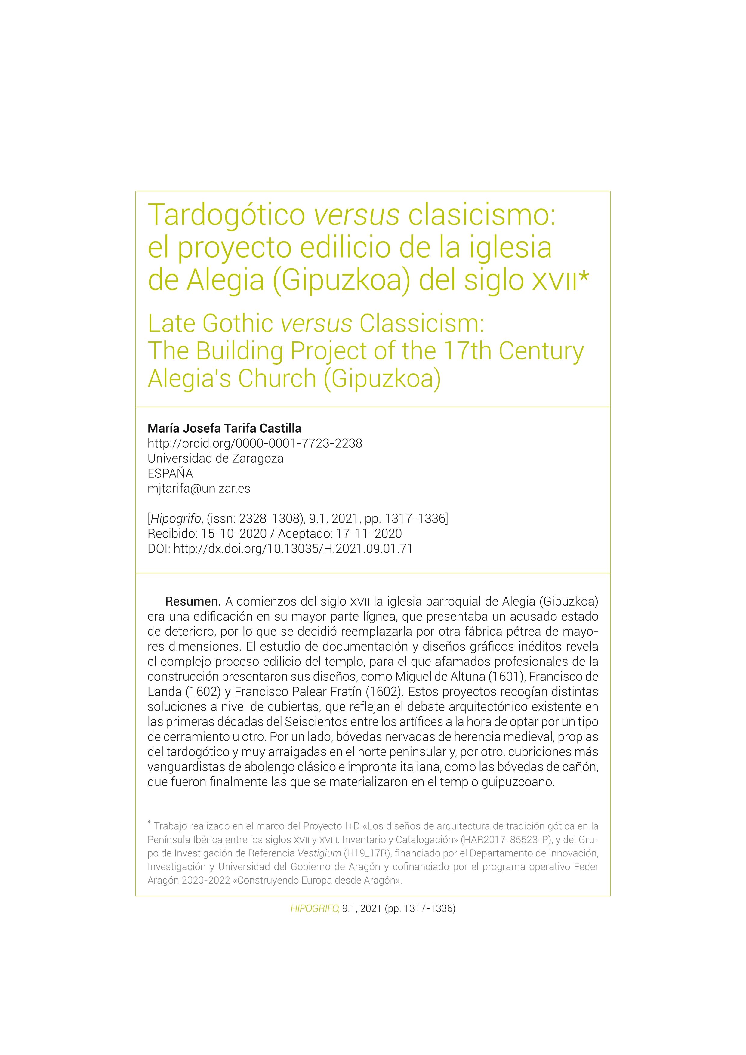 Tardogótico versus clasicismo: el proyecto edilicio de la iglesia de Alegia (Gipuzkoa) del siglo XVII