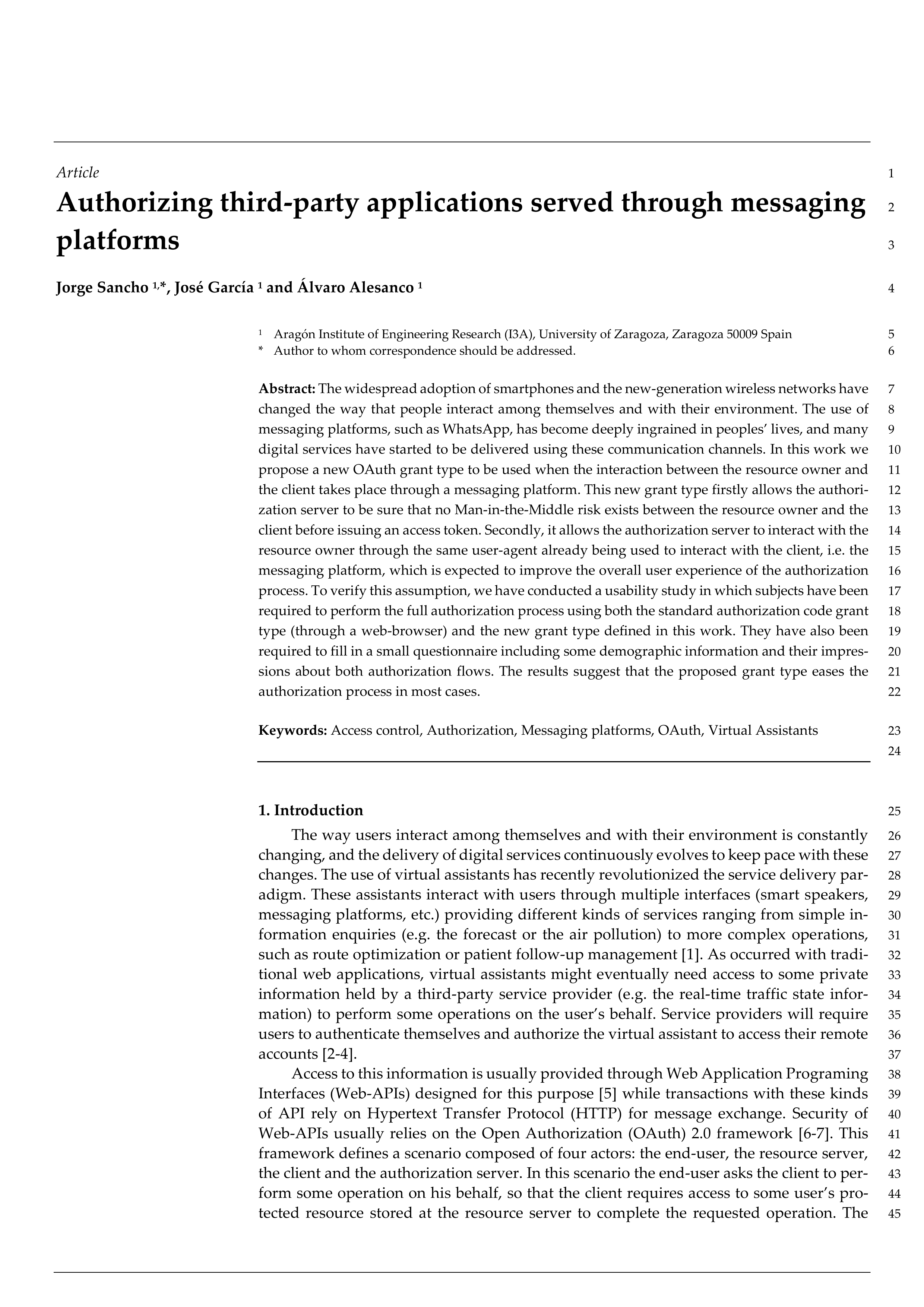 Authorizing Third-Party Applications Served through Messaging Platforms