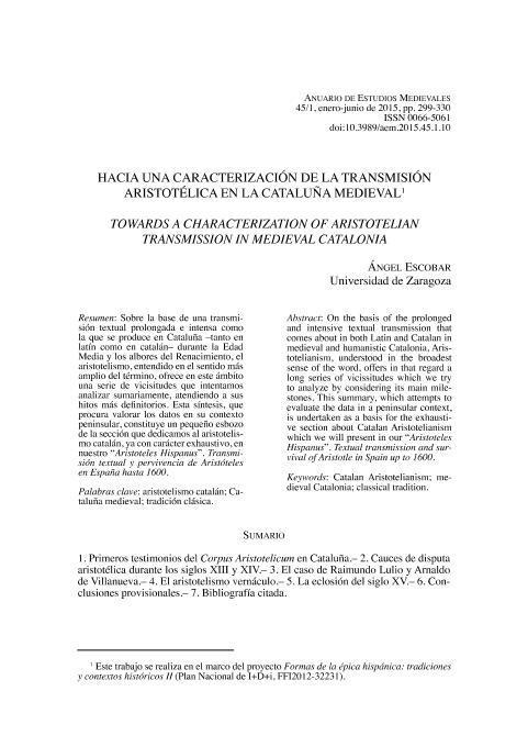 Hacia una caracterización de la transmisión aristotélica en la cataluña medieval