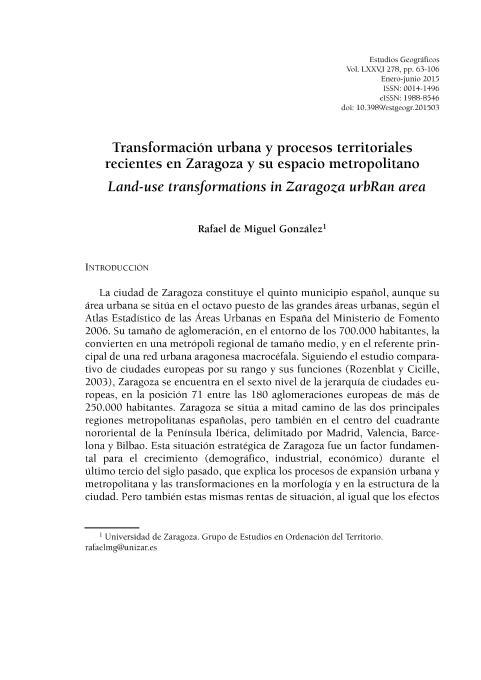 Transformación urbana y procesos territoriales recientes en Zaragoza y su espacio metropolitano