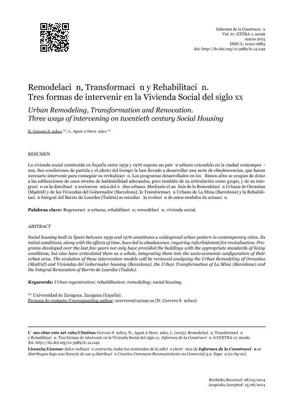 Remodelación, Transformación y Rehabilitación. Tres formas de intervenir en la Vivienda Social del siglo XX