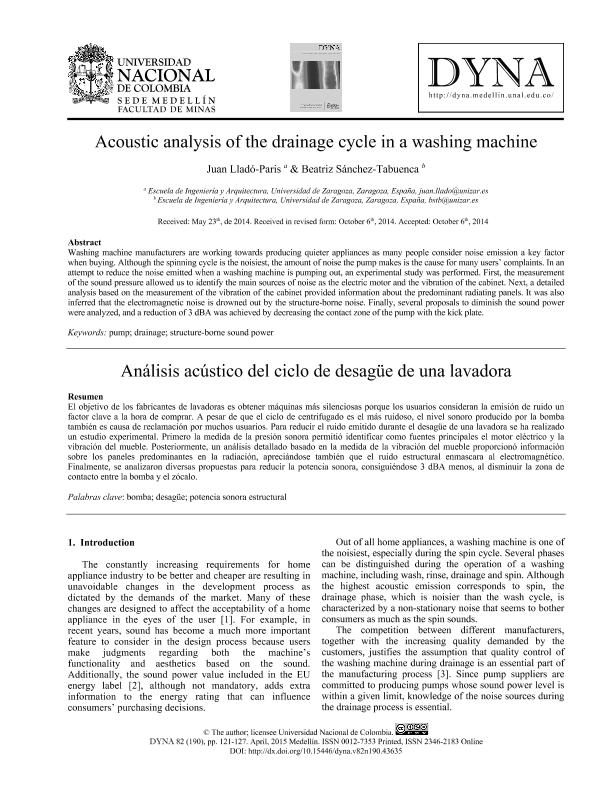 Acoustic analysis of the drainage cycle in a washing machine