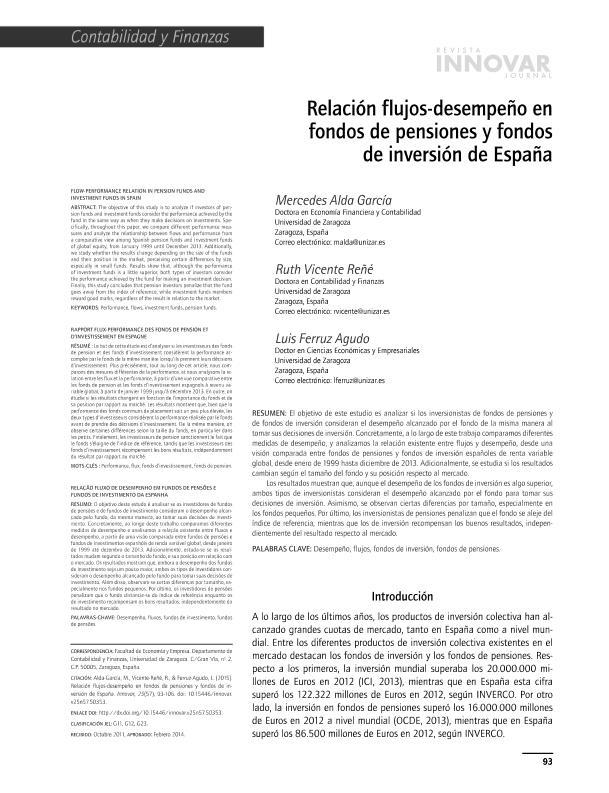 Relación flujos-desempeño en fondos de pensiones y fondos de inversión de España