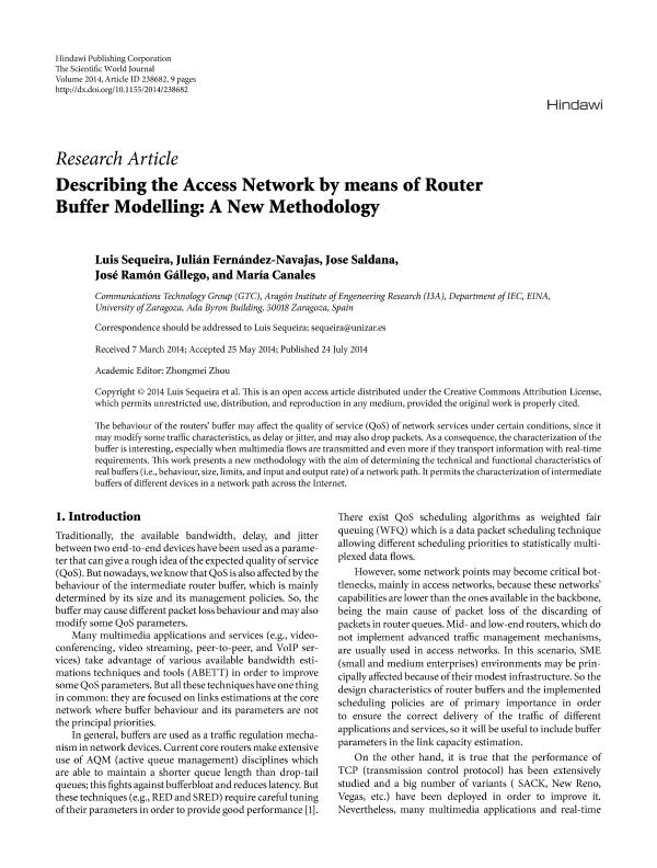 Describing the Access Network by Means of Router Buffer Modelling: a New Methodology