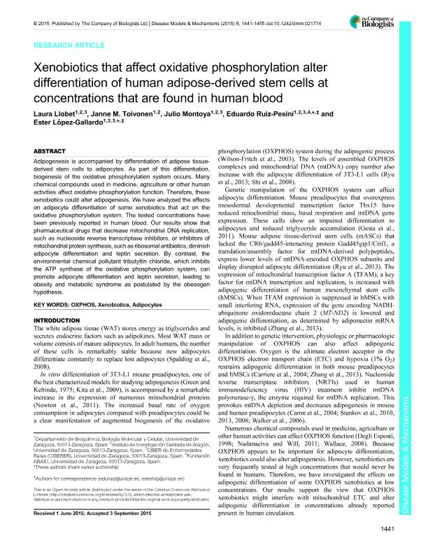 Xenobiotics that affect oxidative phosphorylation alter differentiation of human adipose-derived stem cells at concentrations that are found in human blood