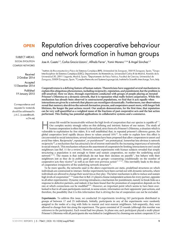 Reputation drives cooperative behaviour and network formation in human groups