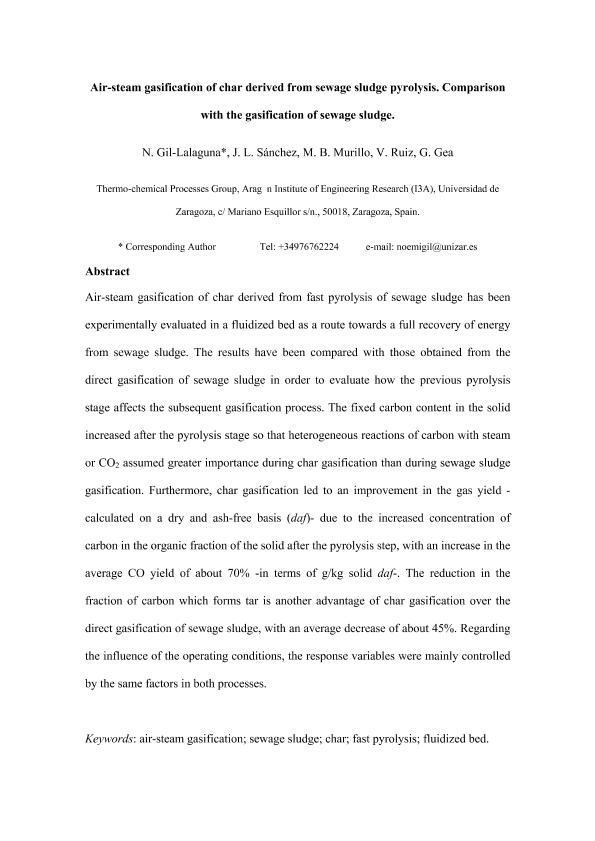 Air-steam gasification of char derived from sewage sludge pyrolysis. Comparison with the gasification of sewage sludge