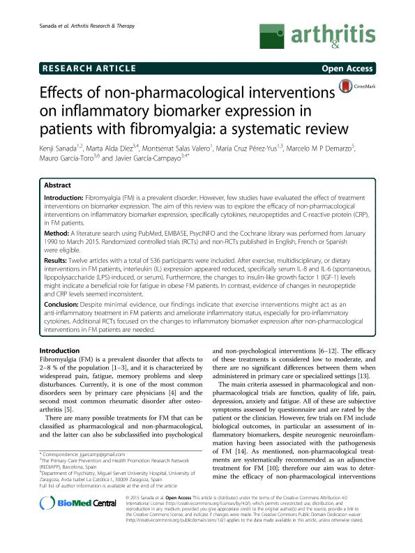 Effects of non-pharmacological interventions on inflammatory biomarker expression in patients with fibromyalgia: A systematic review