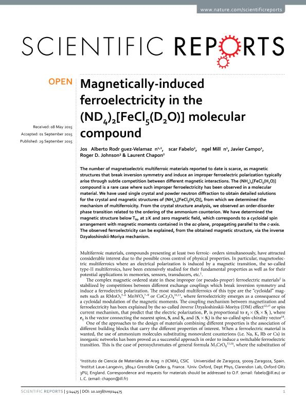 Magnetically-induced ferroelectricity in the (ND 4) 2 [FeCl 5 (D 2 O)] molecular compound