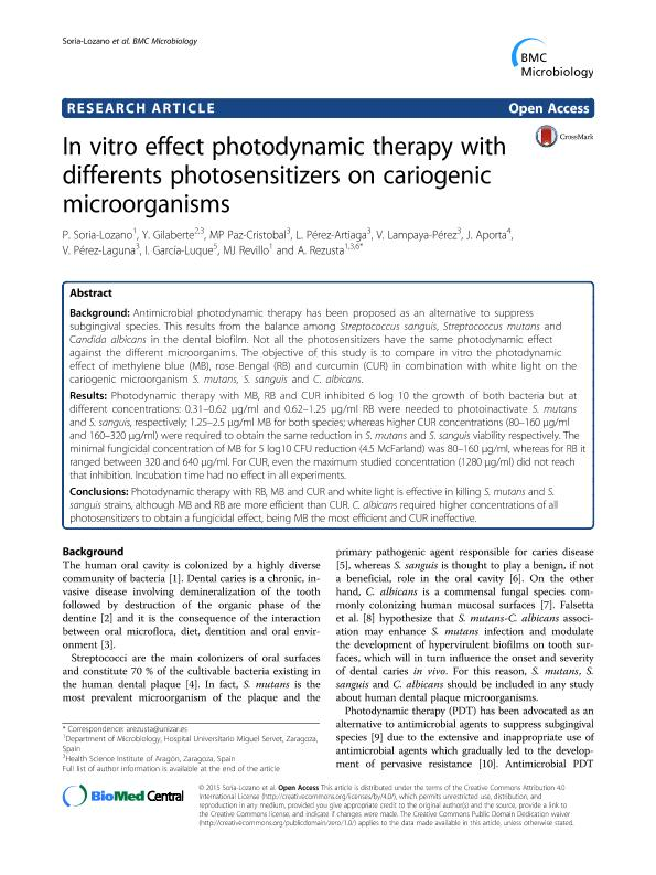 In vitro effect photodynamic therapy with differents photosensitizers on cariogenic microorganisms
