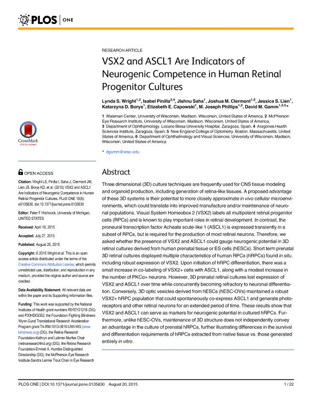 VSX2 and ASCL1 are indicators of neurogenic competence in human retinal progenitor cultures
