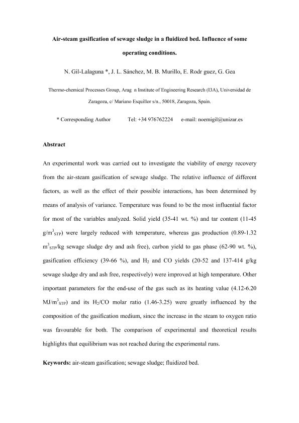 Air-steam gasification of sewage sludge in a fluidized bed. Influence of some operating conditions