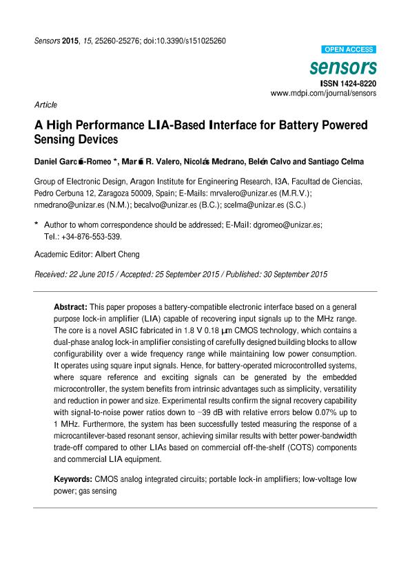 A high performance LIA-based interface for battery powered sensing devices