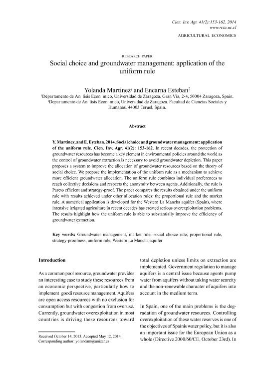 Social choice and groundwater management: application of the uniform rule