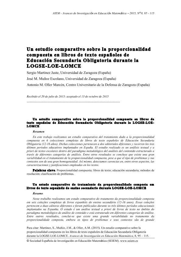 Un estudio comparativo sobre la proporcionalidad compuesta en los libros de texto españoles de Educación Secundaria Obligatoria durante la LOGSE-LOE-LOMCE
