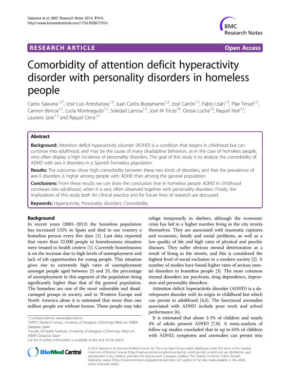 Comorbidity of attention deficit hyperactivity disorder with personality disorders in homeless people.