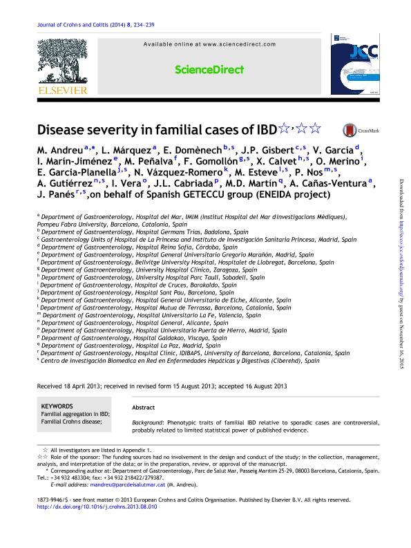 Disease severity in familial cases of IBD