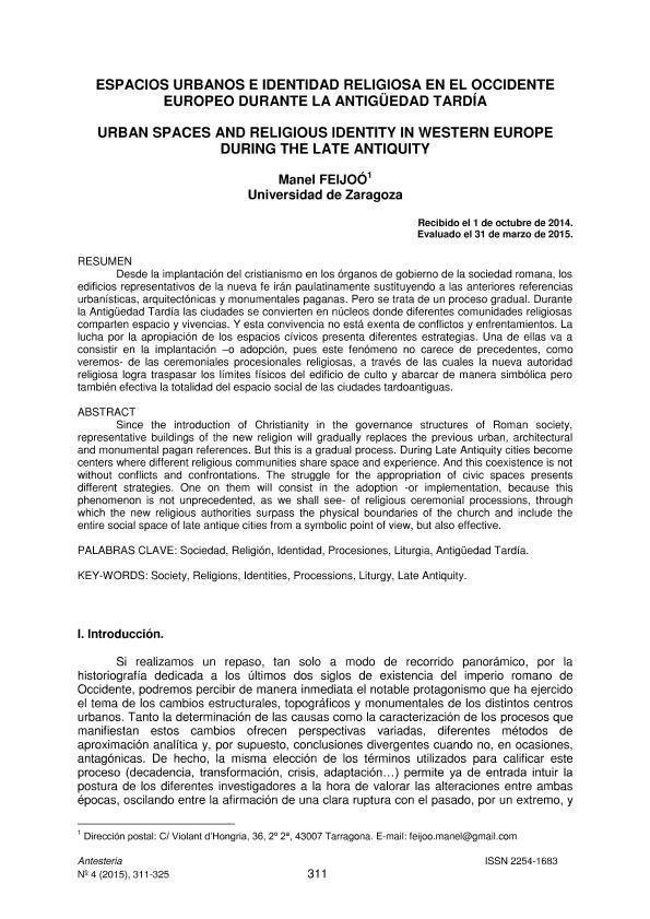 Espacios urbanos e identidad religiosa en el occidente europeo durante la antigüedad tardía