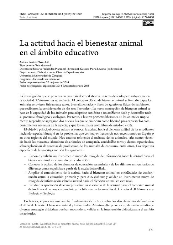 La actitud hacia el bienestar animal en el ámbito educativo