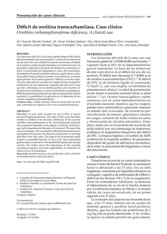Déficit de ornitina transcarbamilasa. Caso clínico