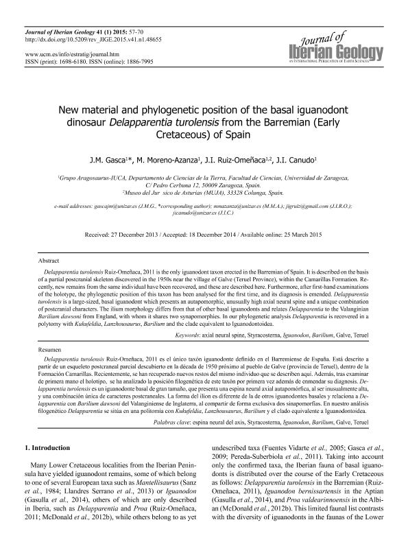 New material and phylogenetic position of the basal iguanodont dinosaur Delapparentia turolensis from the Barremian (Early Cretaceous) of Spain