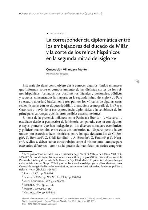 La correspondencia diplomática entre los embajadores del ducado de Milán y la corte de los reinos hispánicos en la segunda mitad del siglo XV