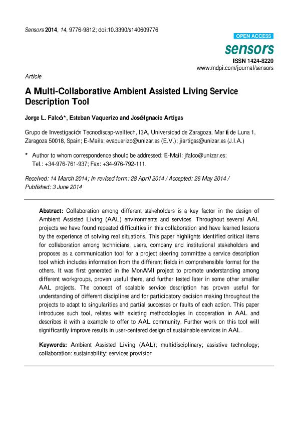 A multi-collaborative ambient assisted living service description tool