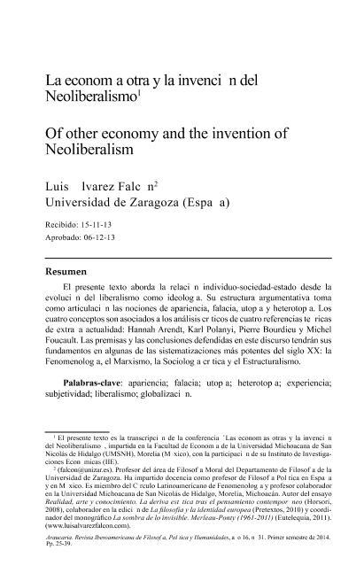 La economía otra y la invención del Neoliberalismo; Scopus