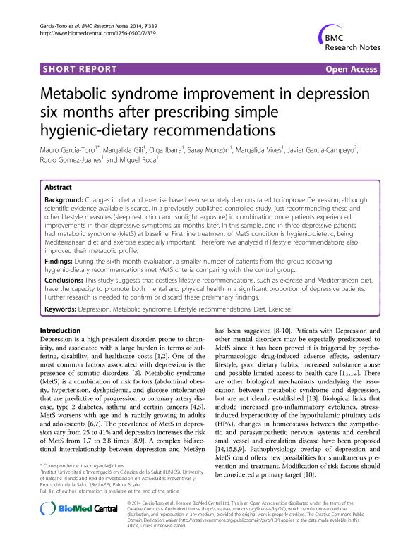 Metabolic syndrome improvement in depression six months after prescribing simple hygienic-dietary recommendations