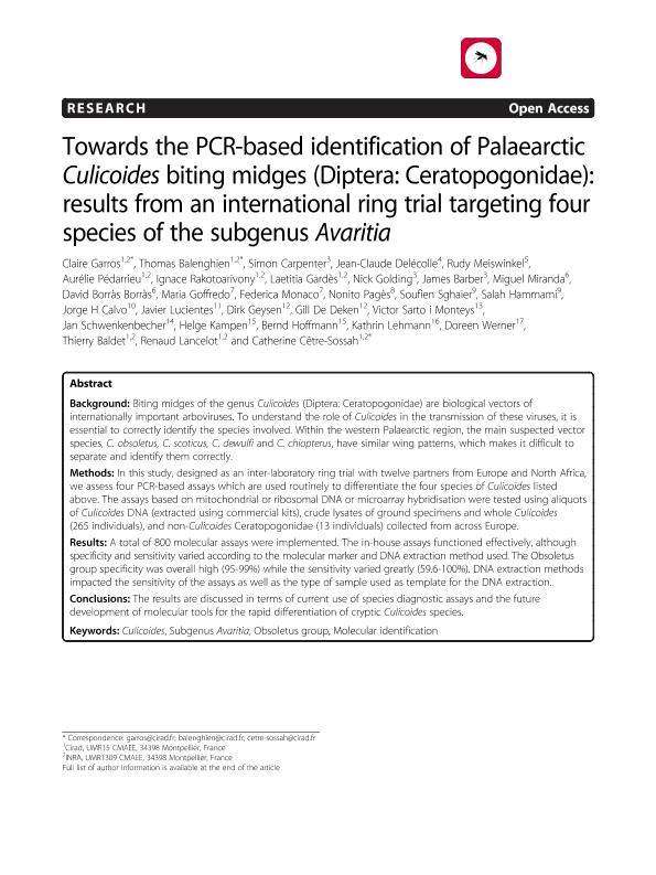 Towards the PCR-based identification of Palaearctic Culicoides biting midges (Diptera: Ceratopogonidae): Results from an international ring trial targeting four species of the subgenus Avaritia