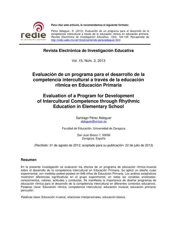 Evaluación de un programa para el desarrollo de la competencia intercultural a través de la educación rítmica en Educación Primaria